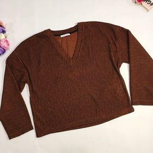 Zara brown long sleeve v neck blouse top